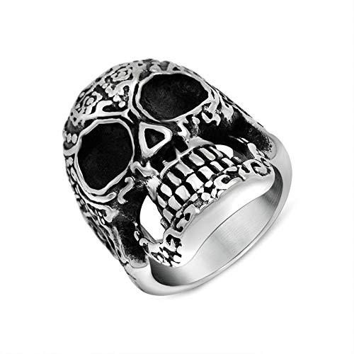 DOLOVE Männer Ring Edelstahl Ring Totenkopf Trauring Gothic Schädel Silber Schwarz Edelstahl Ringe Gr 62 (19.7)