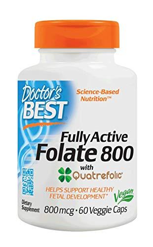 Doctor's Best - Folato completamente attivo con il magnetocardiogramma 800 di Quatrefolic. - 60Capsula vegetale (e)