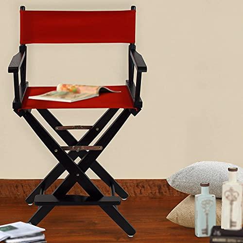 FGHDFH Red Professional Maquillaje Artista Directores Silla, Madera Ligera Plegable Maquillaje Silla Madera Al Aire Libre Taburete Camping Plegable, para Maquillaje Artista Director Pescador