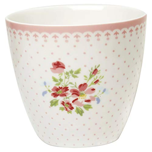 GreenGate Kaffeebecher Kaffeetasse Latte Cup Becher Sinja White Sonderedition H 9 cm 300 ml