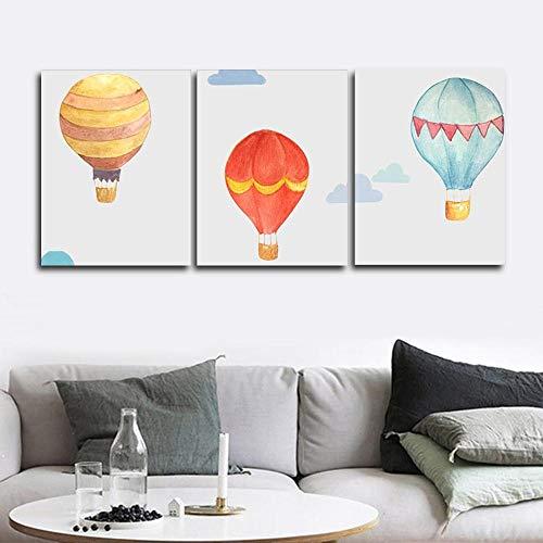 Tekening ballon muur poster en gedrukt canvas schilderij decoratie woonkamer slaapkamer woondecoratie 40x60cmx3 (frameloze)