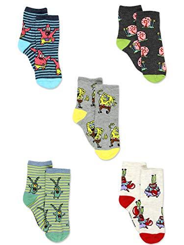 Spongebob Squarepants Boys Girls Toddler 5 pack Crew Socks (Shoe: 7-10 (Sock: 4-6), 5 Pack Crew)