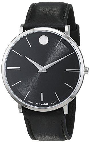 Movado Herren Datum klassisch Quarz Uhr mit Leder Armband 607086