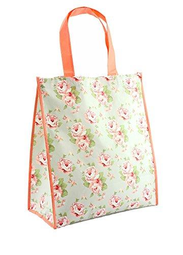 benerini Extra Strong Splash Proof Floral/Flower Design Big Shopper Shopping Bag Riutilizzabile Pieghevole - Design 10 - Can Fold Flat - No Pouch