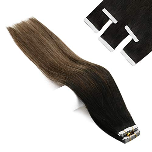 YoungSee Tape Extensions Echthaar Balayage Schwarz bis Dunkelbraun mit Aschblond Remy Glue in Extensions 20 Tressen 50g Ombre Tape on Extensions Echthaar 18Zoll/45cm