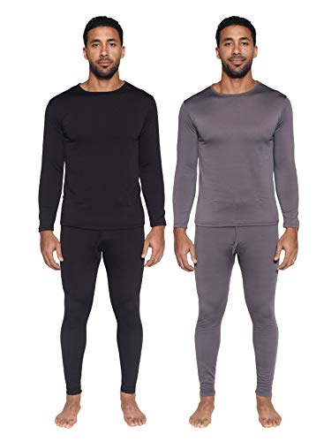 2 Pack: Mens Thermal Sets Underwear Microfiber Fleece Lined Long Johns Base Layer Top Bottom Shirt Pants Compression Leggings Essentials Skiing Snow Winter Clothing -Set 4,XL