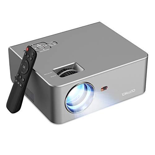 Vidéoprojecteur YOHOOLYO Soutien 1080P 5500 Lumens Mini Projecteur Full HD Retroprojecteur Portable Cinéma Maison avec Haut-Parleur Stéréo Compatible avec HDMI VGA USB AV