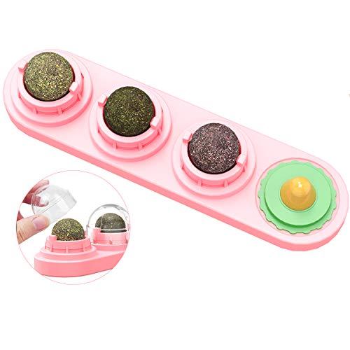 Rehomy Katzenspielzeug mit natürlichen Katzenminze-Blättern, essbare Kugeln, rotierend, interaktives Leckerli-Spielzeug für Katzen, Kätzchen, Zahnreinigung