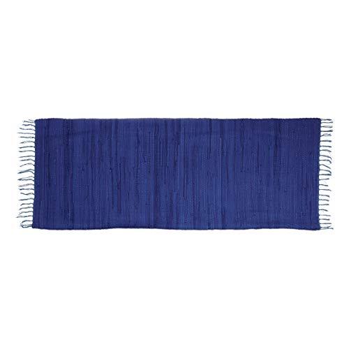 Relaxdays Flickenteppich blau 80 x 200 cm mit Fransen 100 % Baumwolle, einfarbig, Fleckerlteppich, dunkelblau