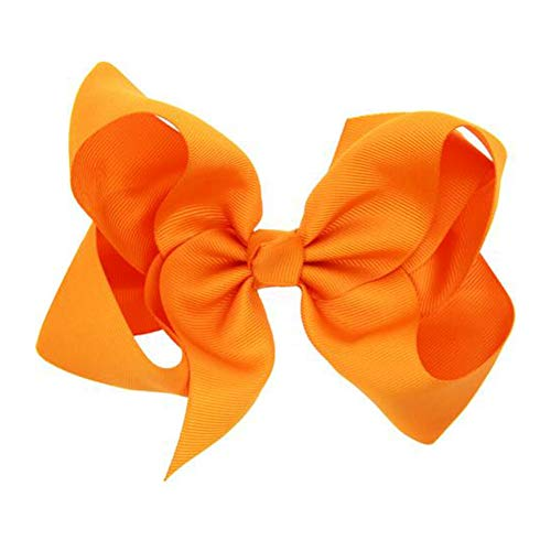 Hair Clips Boutique Hair Bows Alligator Clip for Women Girl Hairpin 6 Inch TSFJ02 (Orange)