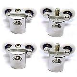 XINYE Wuxinye 4 piezas de acero inoxidable con rodamientos de aleación de zinc para puerta corredera de ducha y accesorios de cabina (diámetro exterior: 4 inferior de 23 mm)