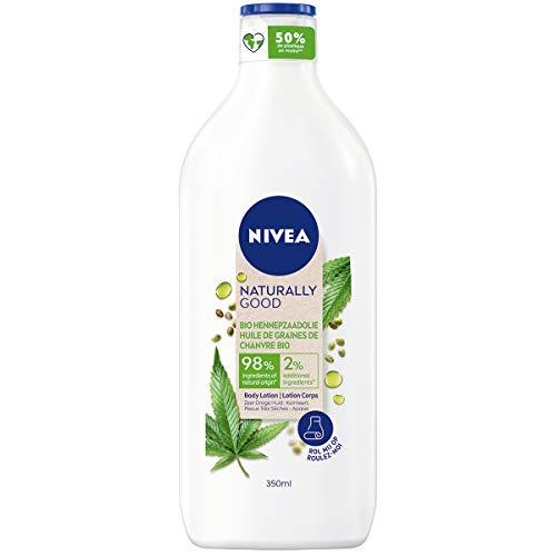 NIVEA NATURALLY GOOD Lait Nourrissant Huile de Graines de Chanvre Bio (1 x 350 ml), Lait corporel aux ingrédients 98% d'origine naturelle, Soin nourrissant et apaisant