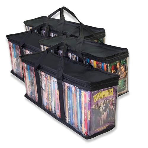 Made Easy Kit Clear Media Storage Bag Compatible with DVDs, Blu-Rays, Video Game Cases, VHS (40 DVD Capacity) with Dividers (Black, 4)