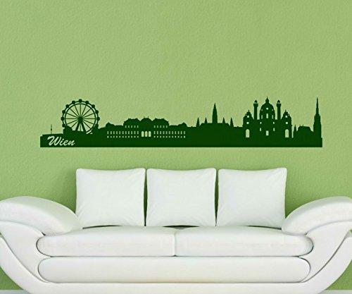 Wandtattoo XXL Skyline Wien - Wand Aufkleber Österreich Deko City Stadt 1M033, Farbe:Schwarz glanz;Länge des Motives:100cm