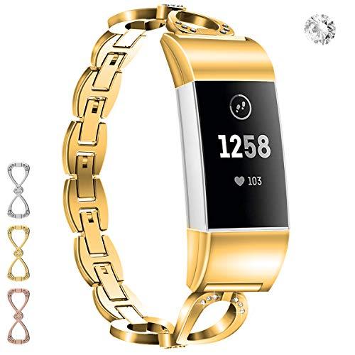 Wekin Ersatz-Armband, kompatibel mit Fitbit Charge 2 und Charge 2 HR, verstellbares Metallarmband für Frauen aus Stahl mit Strass für Charge 2, gold