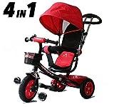 All Road Trikes Niños 4 en 1 Trike - Negro y Rojo - Empujar /Pedal Infantil Triciclo Homologación CE