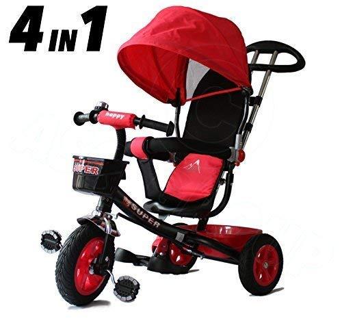 All Road Trikes Kinder 4 in 1 Trike - Schwarz & Rot - Vorantreiben / Pedale Kinder Dreirad