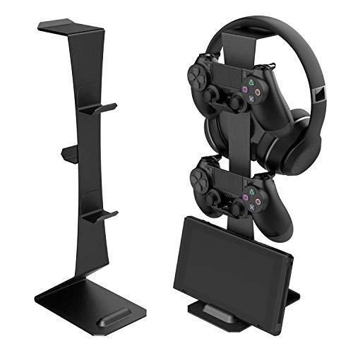 川の信芸 ゲームコントローラー収納ラック ゲーム機スタンド マグネットフック付き ブラック