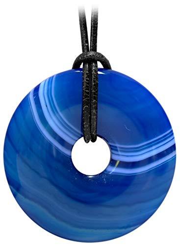 Kaltner Präsente–Regalo Idea–Cadena para Hombre y Mujer de piel con donut colgante de la piedra preciosa ágata azul (30mm de diámetro)
