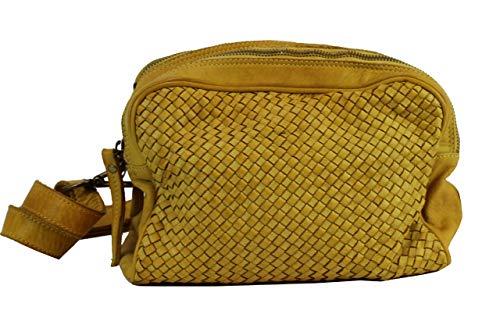 BZNA Bag Lucy Gelb Yellow Italy Designer Clutch Braided Ledertasche Umhängetasche Damen Handtasche Schultertasche Tasche Leder Shopper Neu