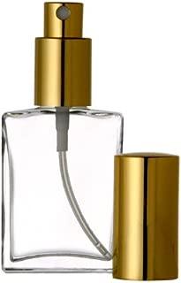 Grand Parfums Empty Perfume Atomizer 2 Oz, Flat Glass Bottle, Gold Sprayer 60ml Decant Fragrance Bottle