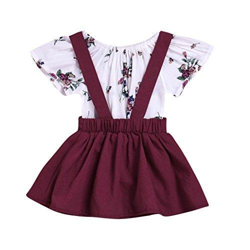 K-youth Vestido para Niñas, Ropa Bebe Niña Vestido de Falda de Manga Larga Vestidos Niña Fiesta Tutú Princesa Vestidos Tutú Falda (Vin, 0-6 Meses)