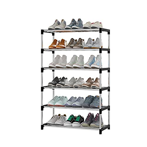 JQAM Organizador de Zapatero de 6 Niveles, Estante Organizador de Almacenamiento de Zapatos de Entrada Fuerte y Duradero para Entrada, Dormitorio y Sala de Estar (Color : Black)