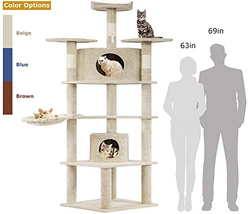BestPet Cat Tree Kitty Tree Cat Condo Cat House Cat Tower for Large Cats,73'