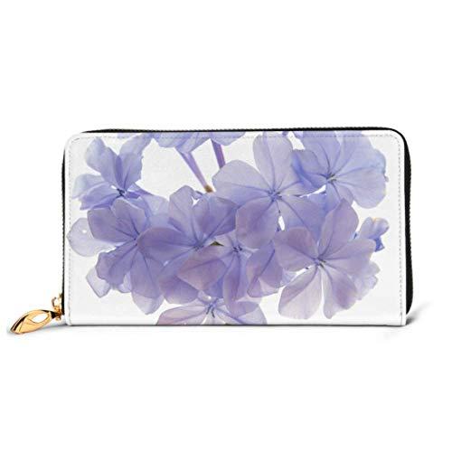 JHGFG Mode Handtasche Reißverschluss Brieftasche Plumbago Auriculata Blue Plumbago isoliert am Telefon Kupplung Geldbörse Abendkupplung Blockieren Leder Brieftasche Multi Card Or. En