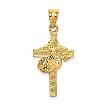 14k Yellow Gold Marine Corps Cross Religious Pendant Charm Necklace Latin Logoart Military Fine Jewelry For Women Gifts For Her