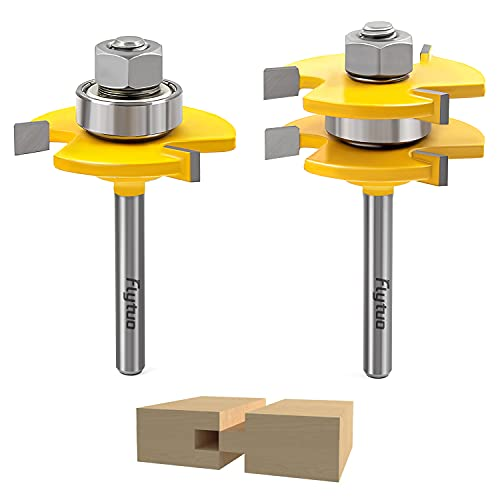 Flytuo 2PCS Tongue and Groove Router Bits Set 1/4 Inch Shank, 3 Teeth Adjustable T Shape Wood Milling Cutter for Doors, Drawers, Shelves & More