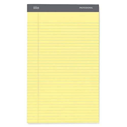 Office Depot Professional Legal Pad, 8 1/2in. x 14in, Canary, Legal Ruled, 50 Sheets, 4 Pads/Pack, 99489