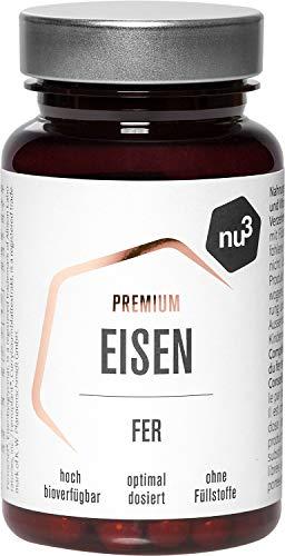 nu3 Premium Eisen - 60 Kapseln - 14 mg Eisen & 150 mg Vitamin C pro Stück - hohe Bioverfügbarkeit - mit Curryblattpulver - vegane Kapsel - sehr rein und ohne Füllstoffe - gluten- & laktosefrei