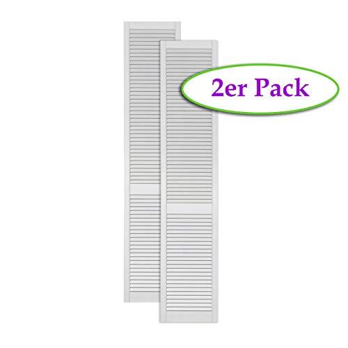 2-er Pack/Zwei Stück Lamellentüren weiß seidenmatt mit offenen Lamellen Kiefernholz 2013 x 394 x 21 mm für Regale, Schränke, Möbel - EINBAUFERTIG grundiert & lackiert