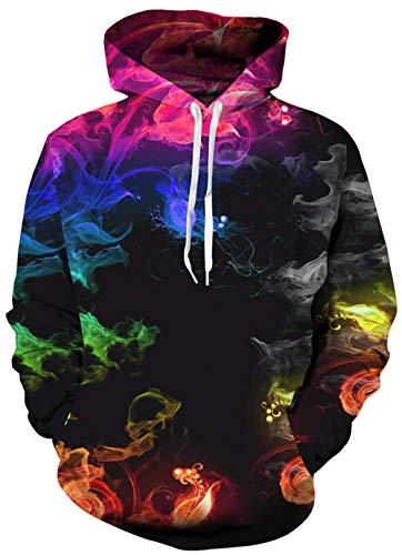 Leapparel Unisex Erwachsene Hoodies 3D Grafik Pullover Kordelzug Sweatshirt für Männer und Frauen mit Tasche - - Mittel