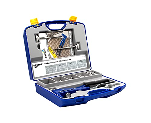 GESIPA Juego de alicates para tuercas remaches GBM 10, incluye 200 remache aluminio, profesionales ciegos M4 a M6, roscados acero y inoxidable, compra los