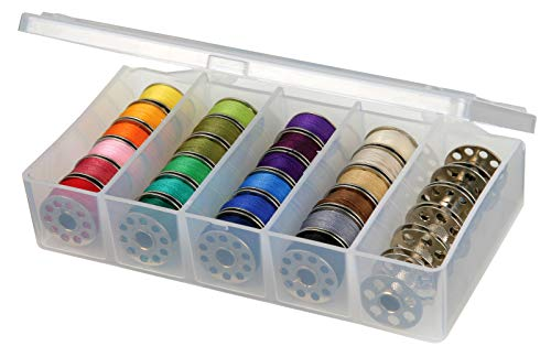 ArtBin 8155AB Sew-lutions Bobbin and Supply Box, Clear Sewing Storage Container, Polyester, 5.875 in, x 3.5 in. x 1.3125 in.