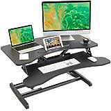 Lubvlook - Convertitore da scrivania regolabile in altezza – 83 cm (32,6 pollici) con vassoio per tastiera, supporto da tavolo ergonomico postazione di lavoro, nero