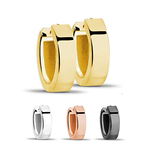 Treuheld®   Klassische, eckige Creolen/Ohrringe   925 Sterling Silber   4mm x 13mm   Gold   Klappcreolen für Damen und Herren   Set Paar