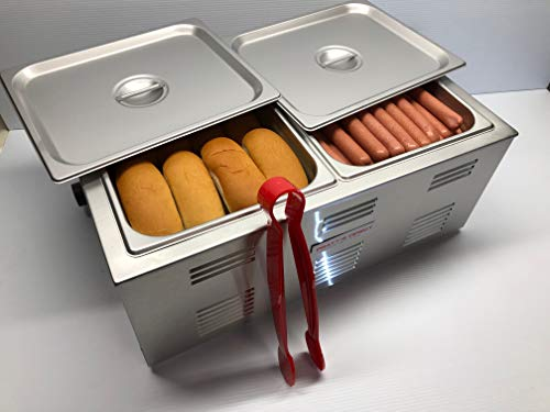 Portable Commercial Hot Dog Cooker and Bun Warmer Steamer for Food Truck and Trailer Concessions 2 Compartment