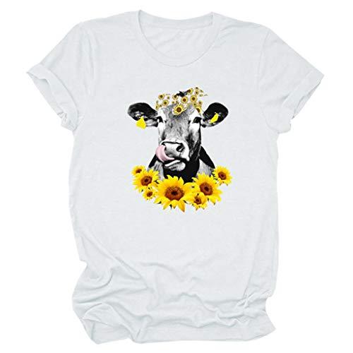Ulanda-EU Teen Mädchen T-Shirt Damen Sommer Tops, Lustig Katze Mundschutz Motiv T-Shirt Casual Kurzarm Oversize Oberteile Hemd Lässig Rundhals Blusen Lose Sports Tee Sweatshirts