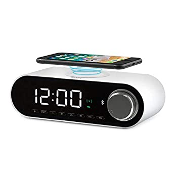 COBY Digital LED Alarm Clock Built In 10W HD Bluetooth Speakers FM Radio QI Certified Fast Wireless Charger for iPhone Samsung and More USB port Battery Backup Aux In and Dimmer for Bedroom Office