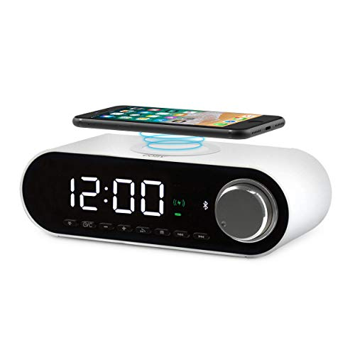 COBY Digital LED Alarm Clock Built In 10W HD Bluetooth Speakers FM Radio QI Certified Fast Wireless Charger for iPhone, Samsung and More, USB port Battery Backup Aux In, and Dimmer for Bedroom, Office