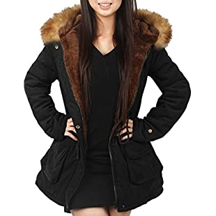 4How Parka Coat with Hood for Women Black UK Size 10:Seks-irani