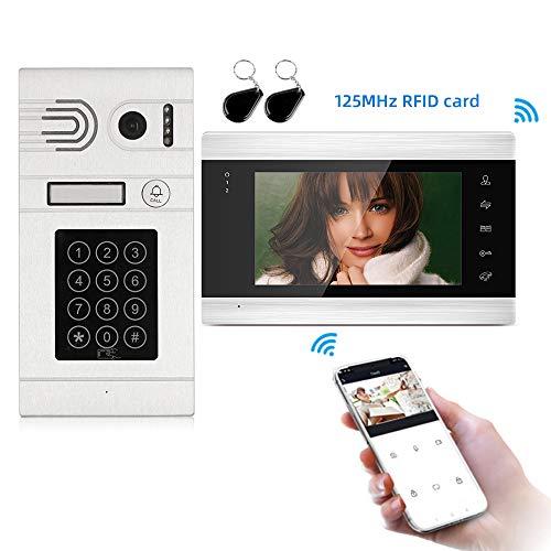 JeaTone Smart Portero Video Kit Videoporteros Timbre Video Porteros AHD 720P, Instantánea, Charla, Grabación, (monitor de soporte, tarjeta RFID, Contraseña, Desbloqueo de Teléfono Inteligente