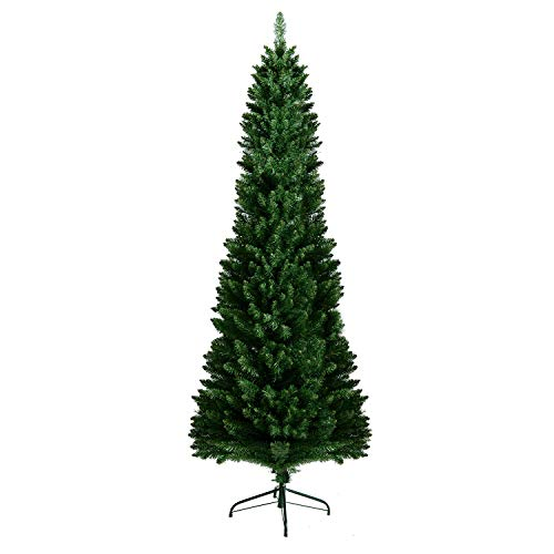 AsterOutdoor Pencil Christmas Tree 7ft Artificial Slim Kingswood Fir with Foldable Stand for Indoor Outdoor Porch, 700 Branch Tips Xmas Holiday Decoration, Easy Assembly