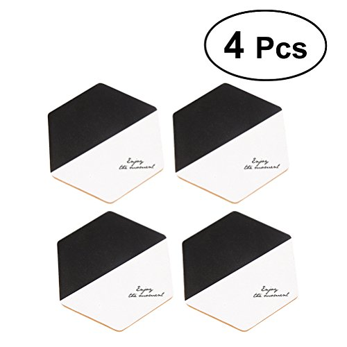 VORCOOL 4 pcs Hexagonal Sets de Table Tapis de Style Nordique Maniques Isolation Pads Home Decor (Texte Couleur pièces)