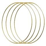 Bzocio 4 aros grandes con flores de metal de 14 pulgadas de 14 pulgadas con macramé de oro, anillos para DIYcorona de boda Decor Dream...