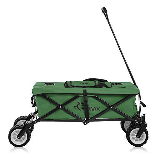 SAMAX Chariot à Main de Transport Chariot de Jardin Sac Isotherme Remorque á Main Pliante Offroad Cool - Vert