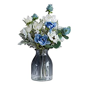 Artificial Flowers Fake Flowers Silk Anemone Bouquets Decoration with Transparent Vase for Table Home Office Wedding